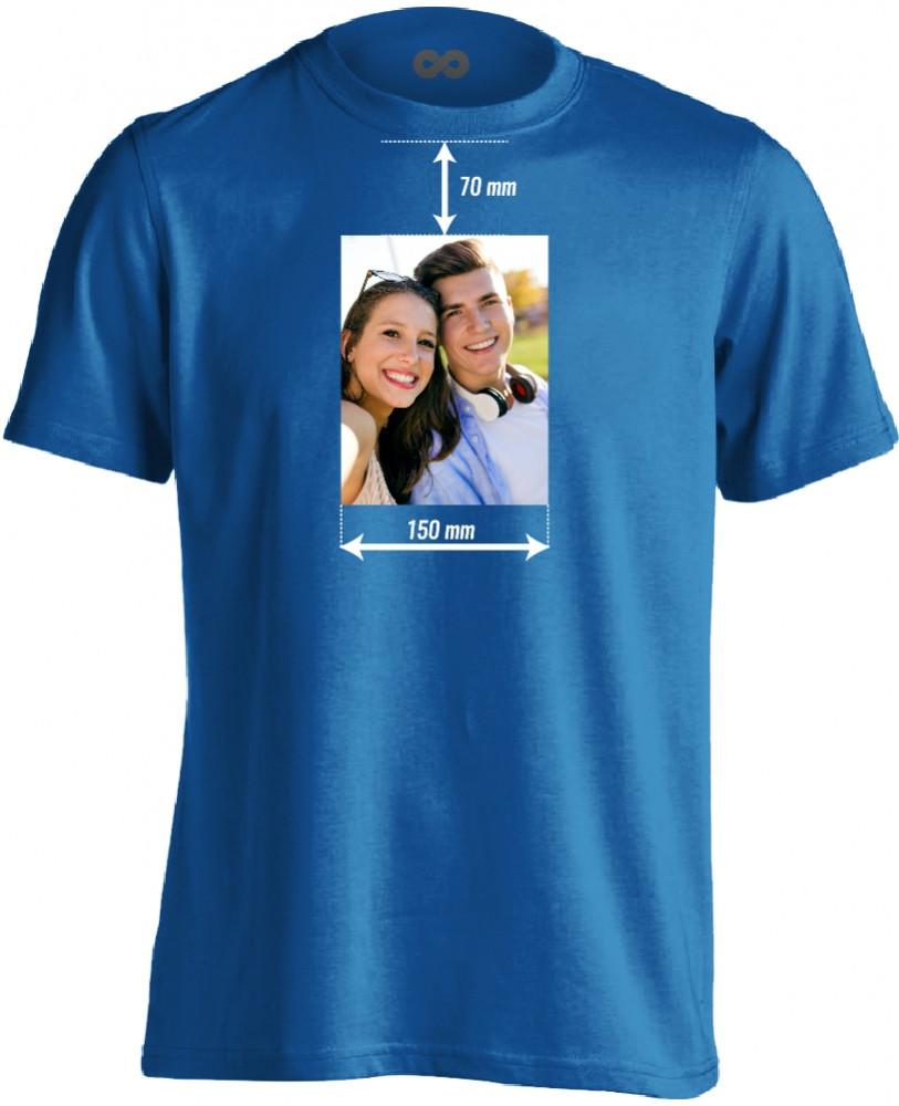 Egyedi fényképes férfi póló 15 cm széles képpel (kék) - PólóVerzum bf70405e47