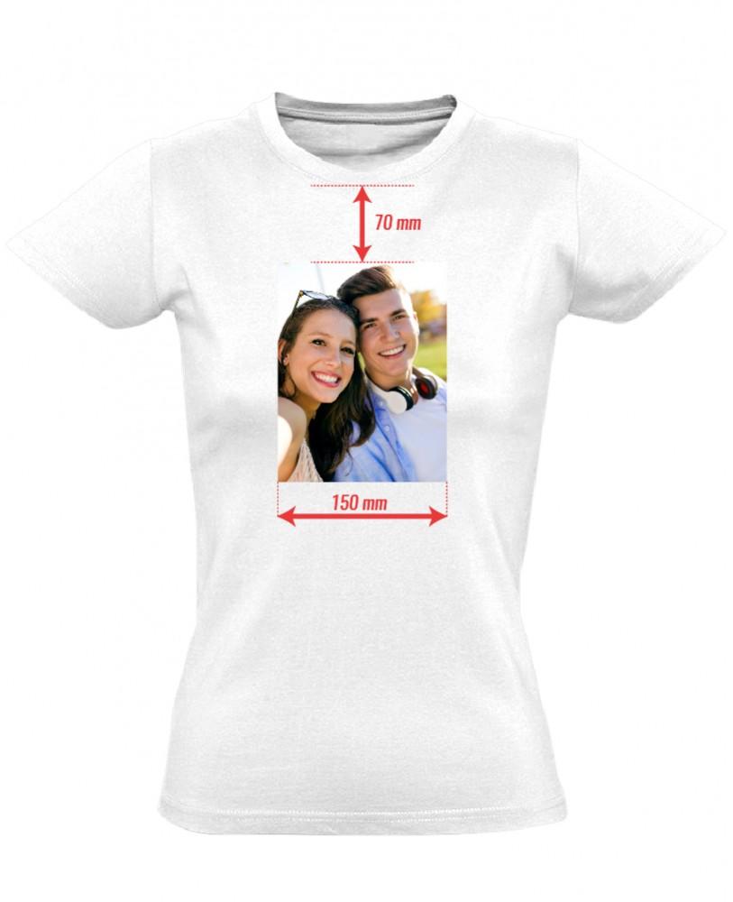 Egyedi fényképes női póló 15 cm széles képpel (fehér) b44ea69cd6