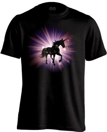 Ragyogás unikornisos férfi póló (fekete)