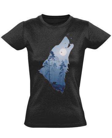 ÉjVad farkasos női póló (fekete)
