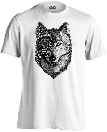 FélArc farkasos férfi póló (fehér)