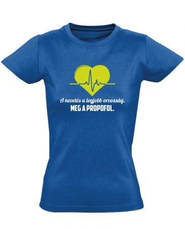 A Legjobb Orvosság aneszteziológiai női póló (kék)