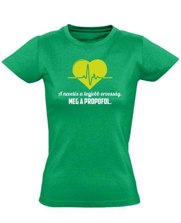 A Legjobb Orvosság aneszteziológiai női póló (zöld)