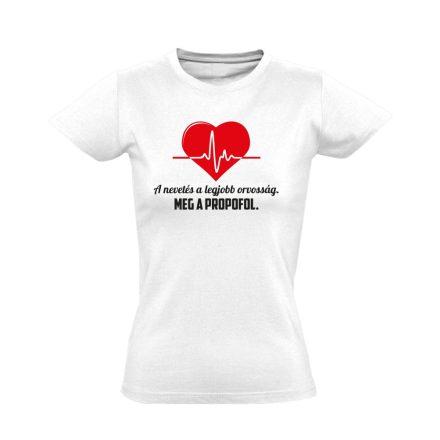 A Legjobb Orvosság aneszteziológiai női póló (fehér)