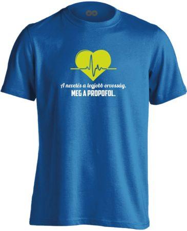 A Legjobb Orvosság aneszteziológiai férfi póló (kék)