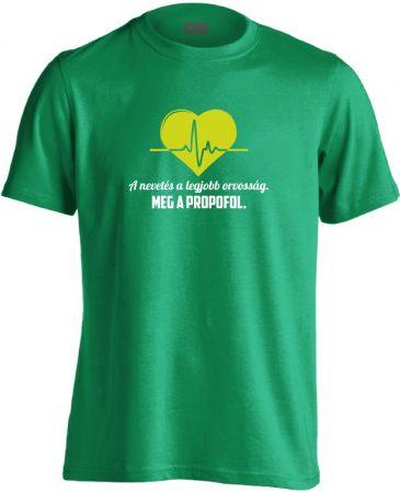 A Legjobb Orvosság aneszteziológiai férfi póló (zöld)
