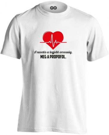 A Legjobb Orvosság aneszteziológiai férfi póló (fehér)