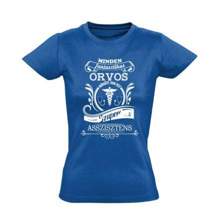 Vintage asszisztens női póló (kék)