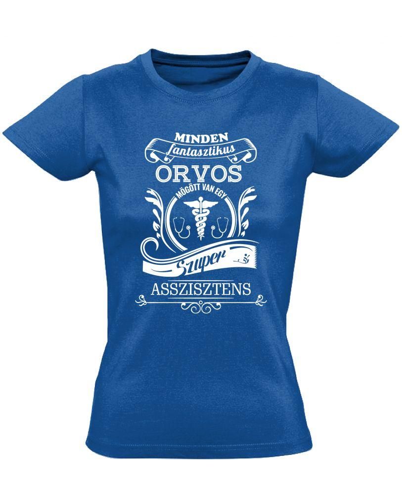 adba346904 Vintage asszisztens női póló (kék) - PólóVerzum