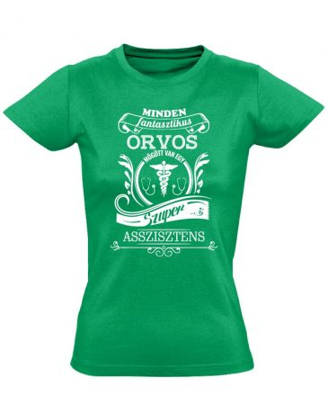 Vintage asszisztens női póló (zöld)