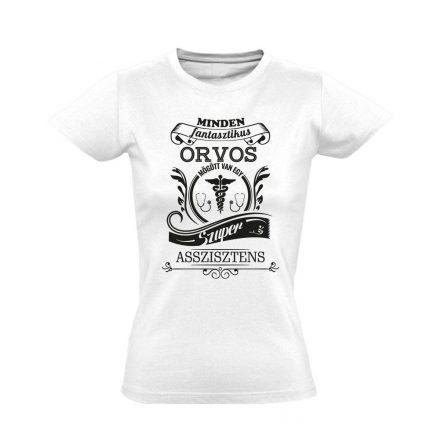Vintage asszisztens női póló (fehér)