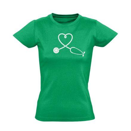 SzívHang belgyógyászati női póló (zöld)