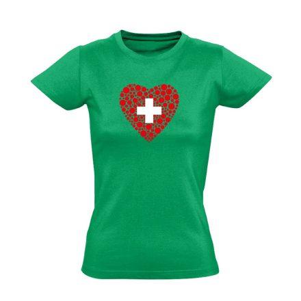 Szívügyem az Egészség belgyógyászati női póló (zöld)