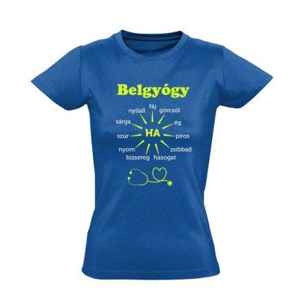 Ha Esik, Ha Fáj! belgyógyászati női póló (kék)