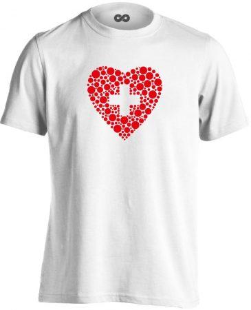 Szívügyem az Egészség belgyógyászati férfi póló (fehér)
