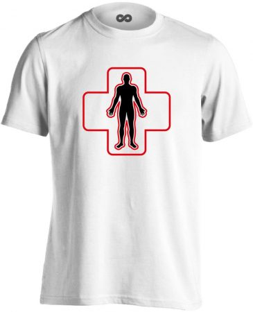 ÉlőPajzs bőrgyógyászati férfi póló (fehér)