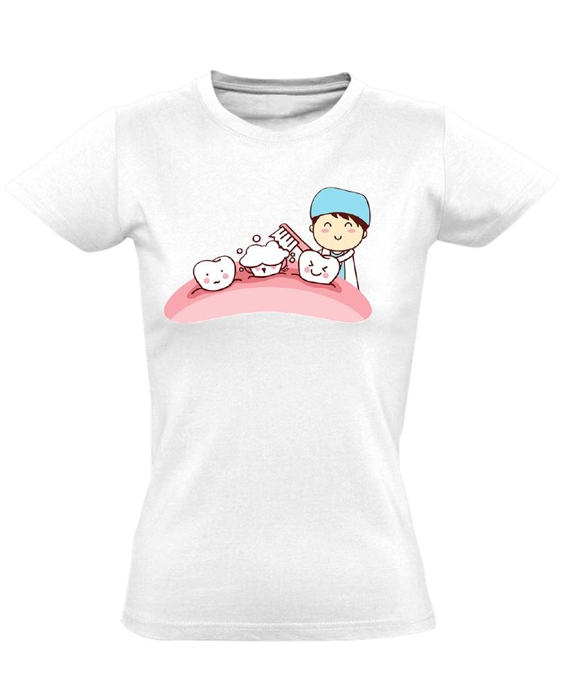 9ee8b58b1f Sörte-Perte fogászati női póló (fehér)