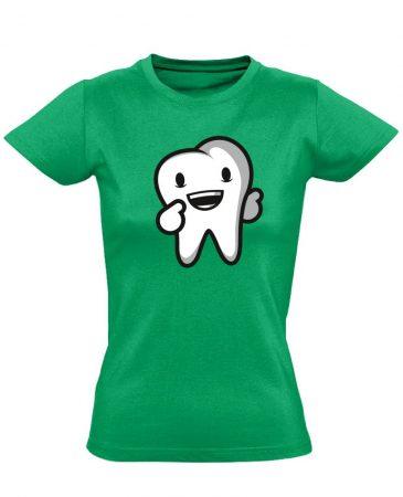 Boldog Fog fogászati női póló (zöld)