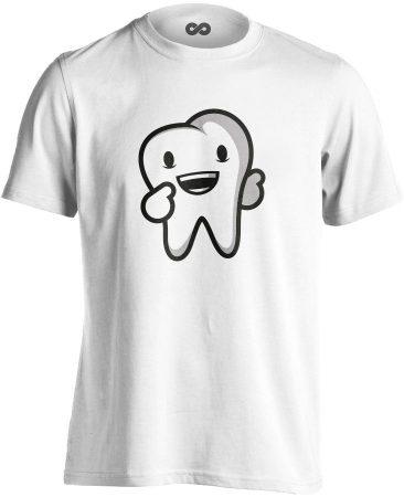 Boldog Fog fogászati férfi póló (fehér)