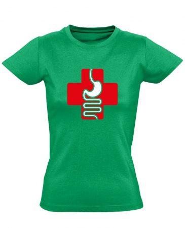 GyógyGyomor gasztroenterológiai női póló (zöld)