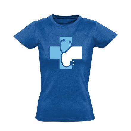 Meghallgatlak háziorvosi női póló (kék)