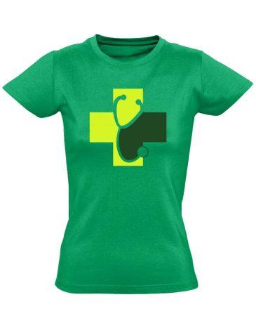 Meghallgatlak háziorvosi női póló (zöld)