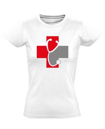 Meghallgatlak háziorvosi női póló (fehér)