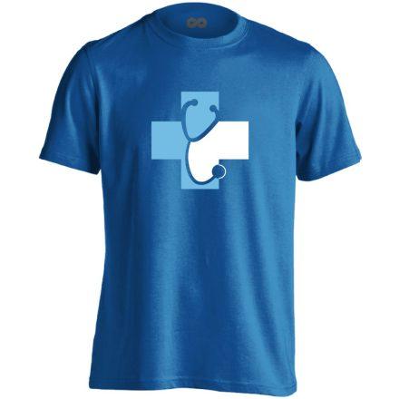 Meghallgatlak háziorvosi férfi póló (kék)