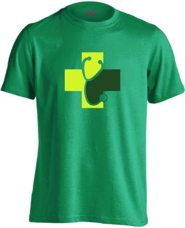 Meghallgatlak háziorvosi férfi póló (zöld)