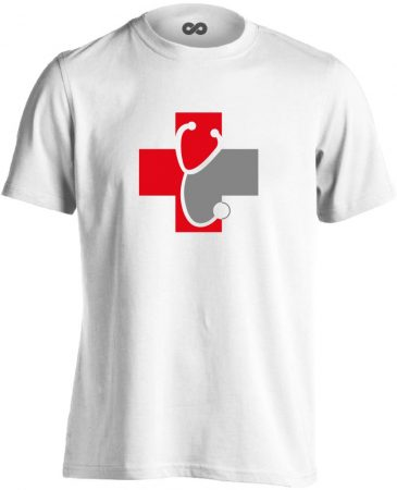 Meghallgatlak háziorvosi férfi póló (fehér)