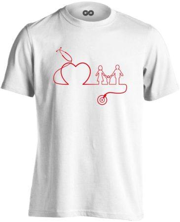 DokiMisszió háziorvosi férfi póló (fehér)