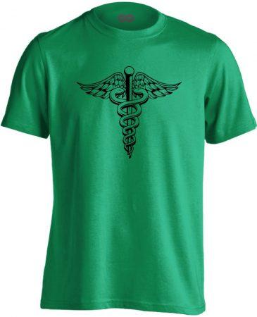 Jeles háziorvosi férfi póló (zöld)