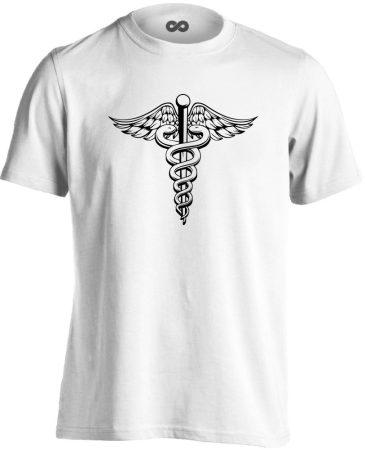 Jeles háziorvosi férfi póló (fehér)