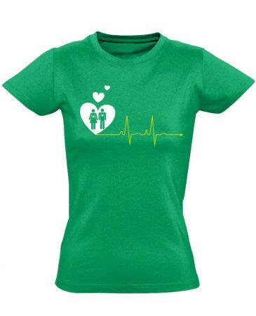 A Szeretet Segít intenzív osztályos női póló (zöld)