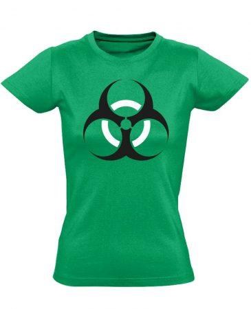 Vigyázz, biosz! infektológiai női póló (zöld)