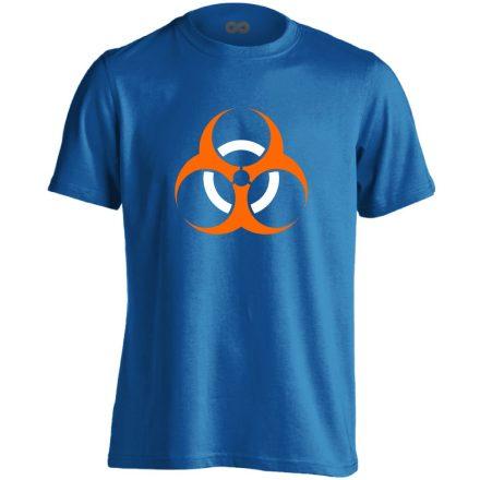 Vigyázz, biosz! infektológiai férfi póló (kék)