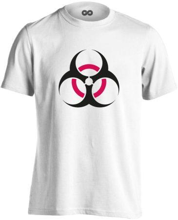 Vigyázz, biosz! infektológiai férfi póló (fehér)