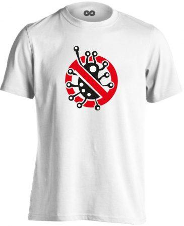 Fertőzni Tilos infektológiai férfi póló (fehér)