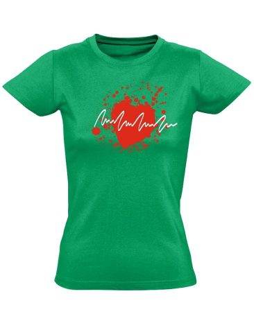 TarantinoEKG kardiológiai női póló (zöld)
