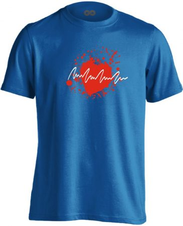TarantinoEKG kardiológiai férfi póló (kék)