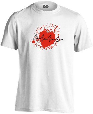 TarantinoEKG kardiológiai férfi póló (fehér)