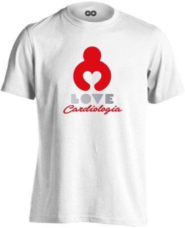 KardioLOVE kardiológiai férfi póló (fehér)