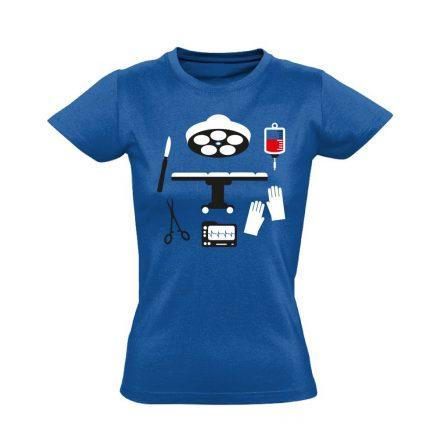 Műtős Csendélet központi műtős női póló (kék)