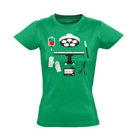 Műtős Csendélet központi műtős női póló (zöld)
