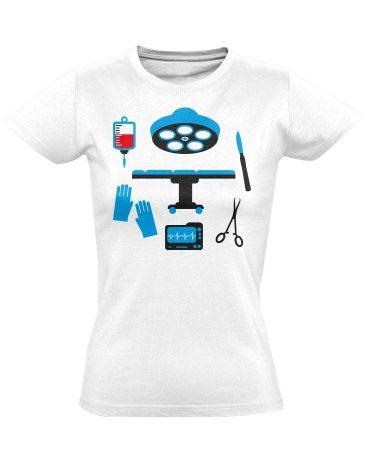 Műtős Csendélet központi műtős női póló (fehér)