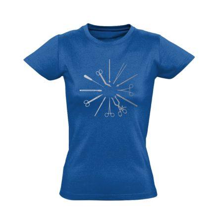 Hegyesek-Élesek központi műtős női póló (kék)