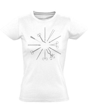 Hegyesek-Élesek központi műtős női póló (fehér)