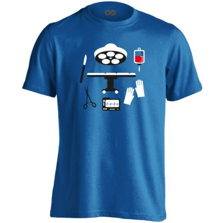 Műtős Csendélet központi műtős férfi póló (kék)