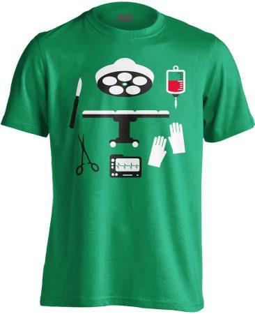 Műtős Csendélet központi műtős férfi póló (zöld)