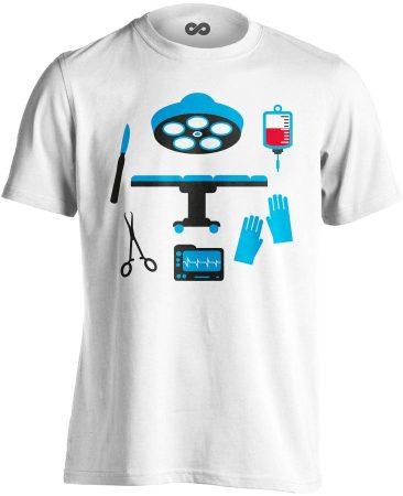 Műtős Csendélet központi műtős férfi póló (fehér)